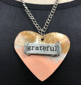 "Boho Metal Wide Heart ""Grateful"" Necklace"