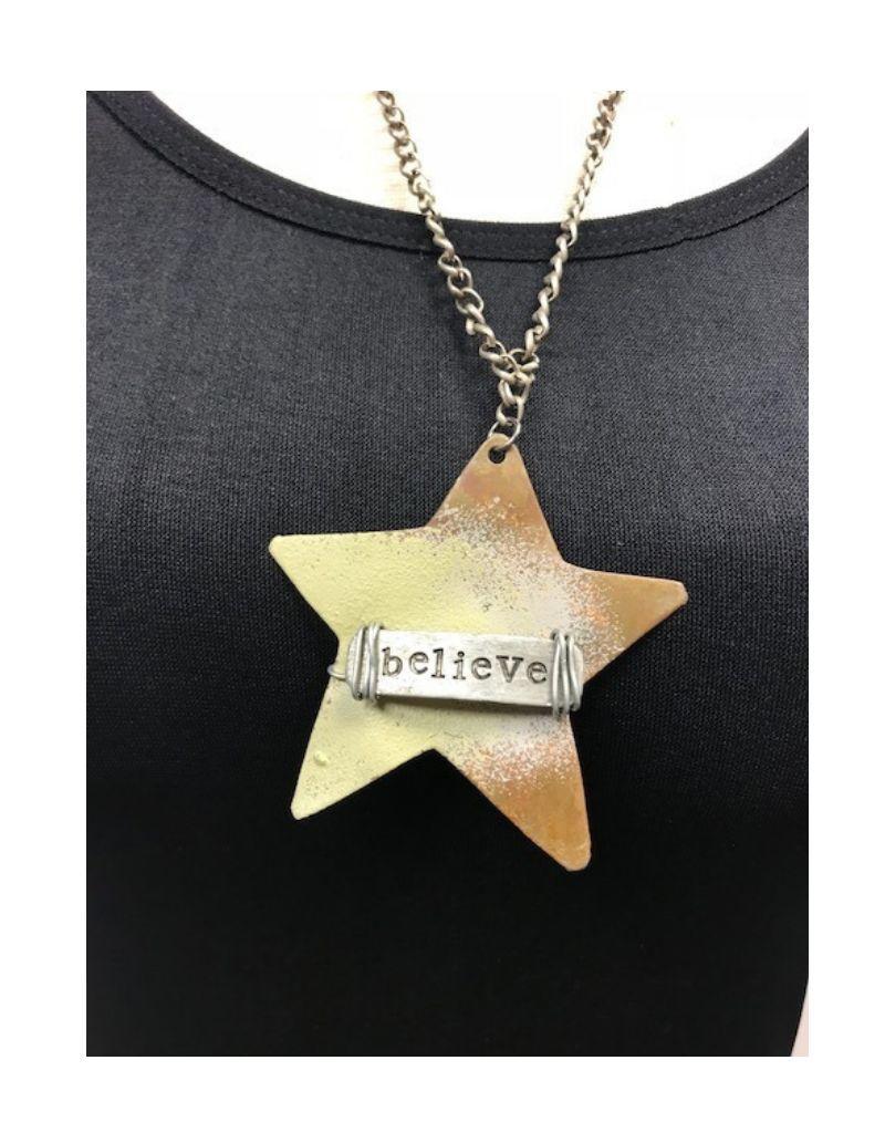 "Boho Metal Wide Star ""Believe"" Necklace"