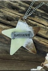 "Boho Metal Wide Star ""Believe"" Necklace"