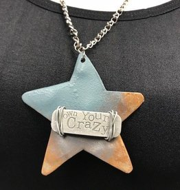 "Boho Metal Wide Star ""Own Your Crazy"" Necklace"