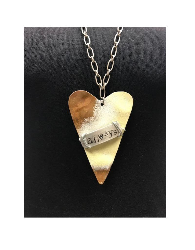 "Boho Metal Prim Heart ""Always"" Necklace"
