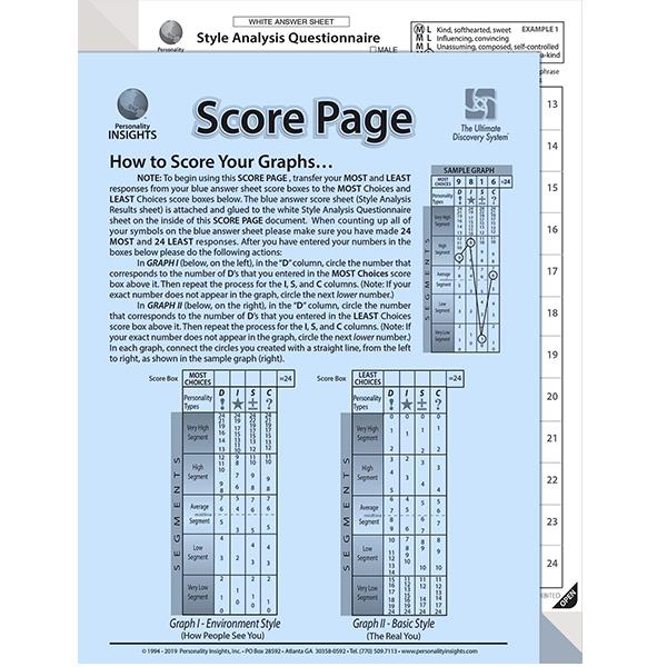 DISC Blue Score Test Adult - 20 Pack