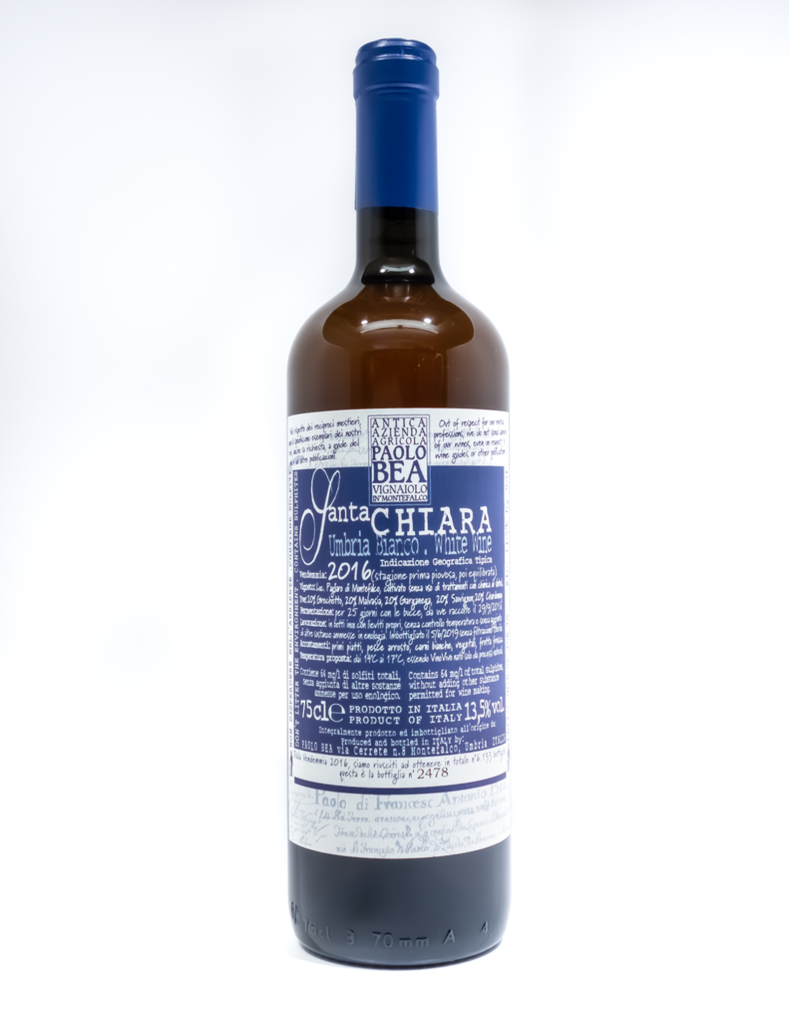 Wine-Orange/Skin-fermented Paolo Bea 'Santa Chiara' Umbria Bianco 2016