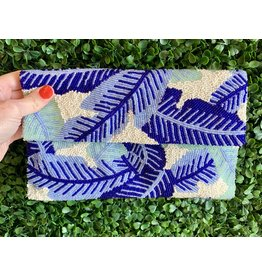 Blue Palm Leaves Beaded Clutch