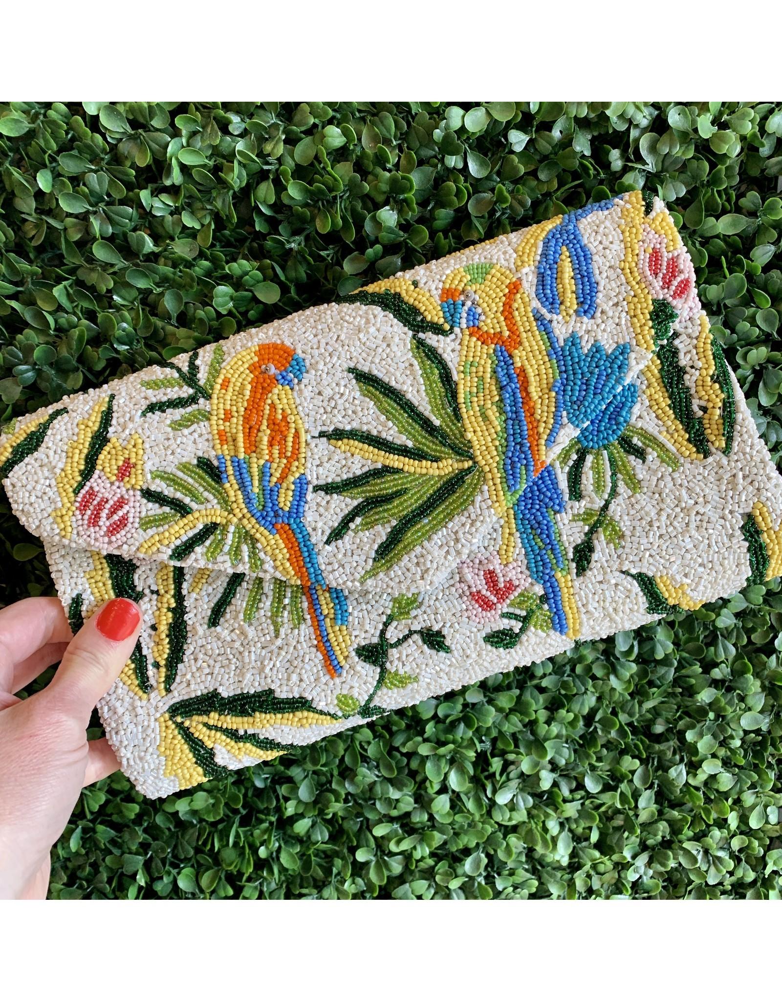 Parrots Beaded Envelope Clutch