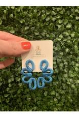 Blue Thread Scroll Earring