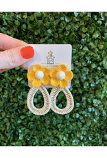 Yellow Flower Teardrop Earring