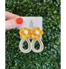 Yellow Flower Teardrop Earring