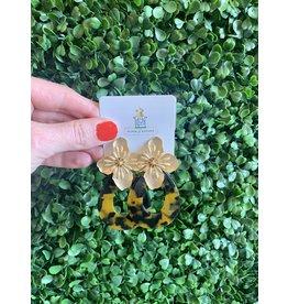 Gold Flower and Tortoise Earring