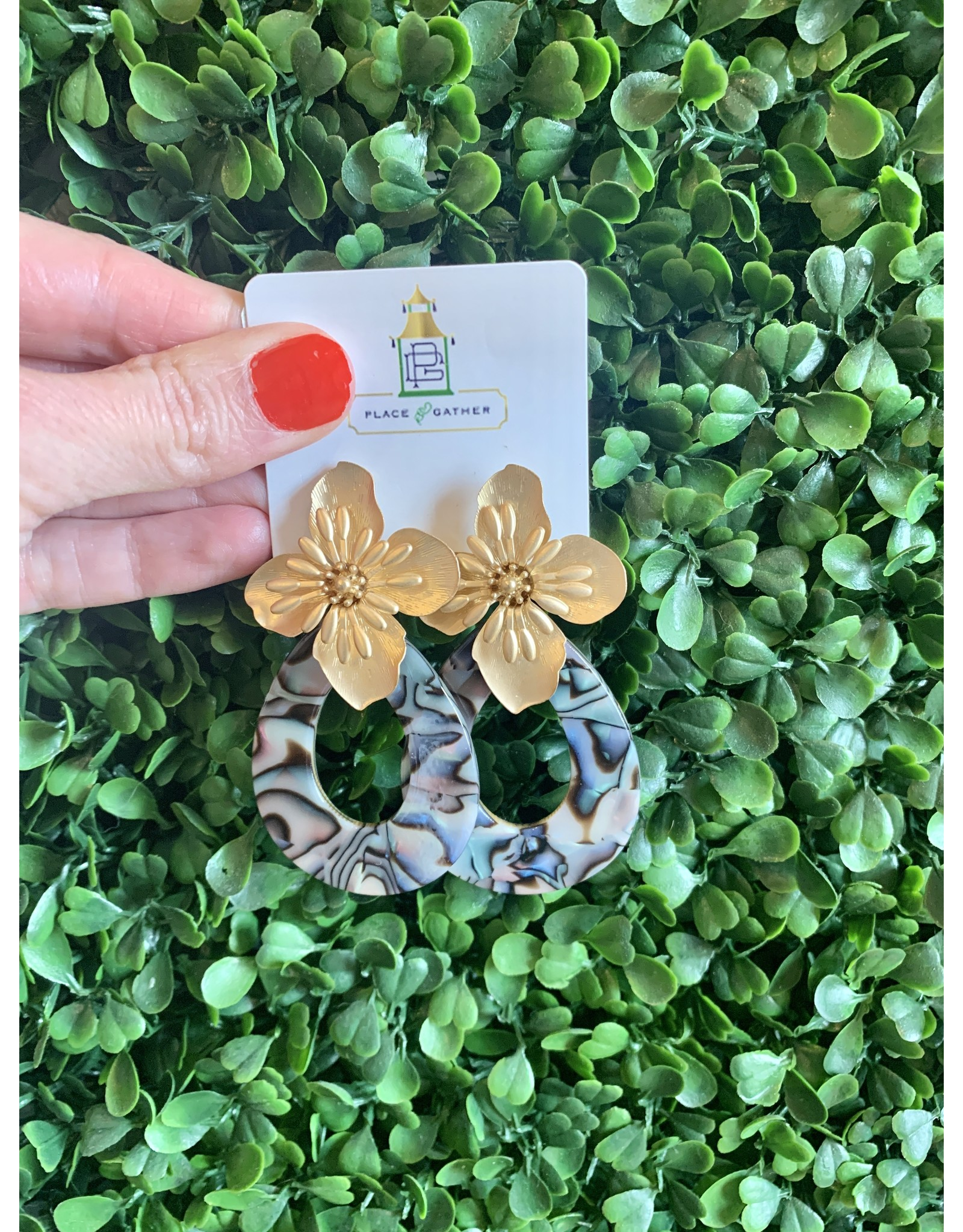 Gold Flower and Abalone Earring