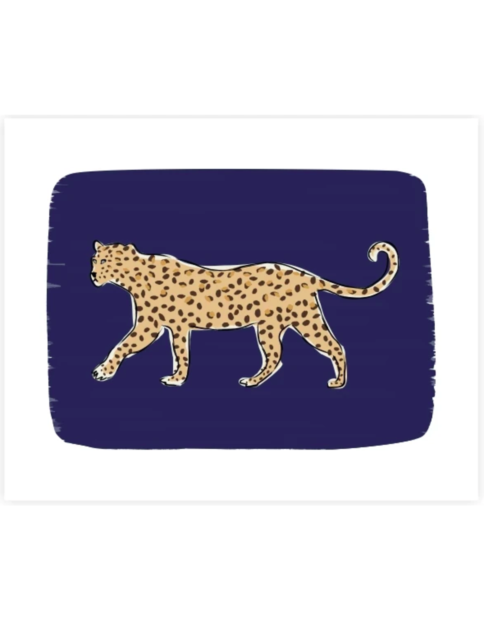 Clairebella Leopard on Prowl Navy Art Print 8x10