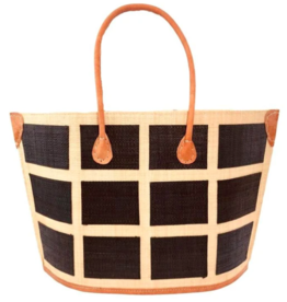 Capri Square Black Raffia Bag