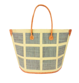Capri Square Grey Raffia Bag