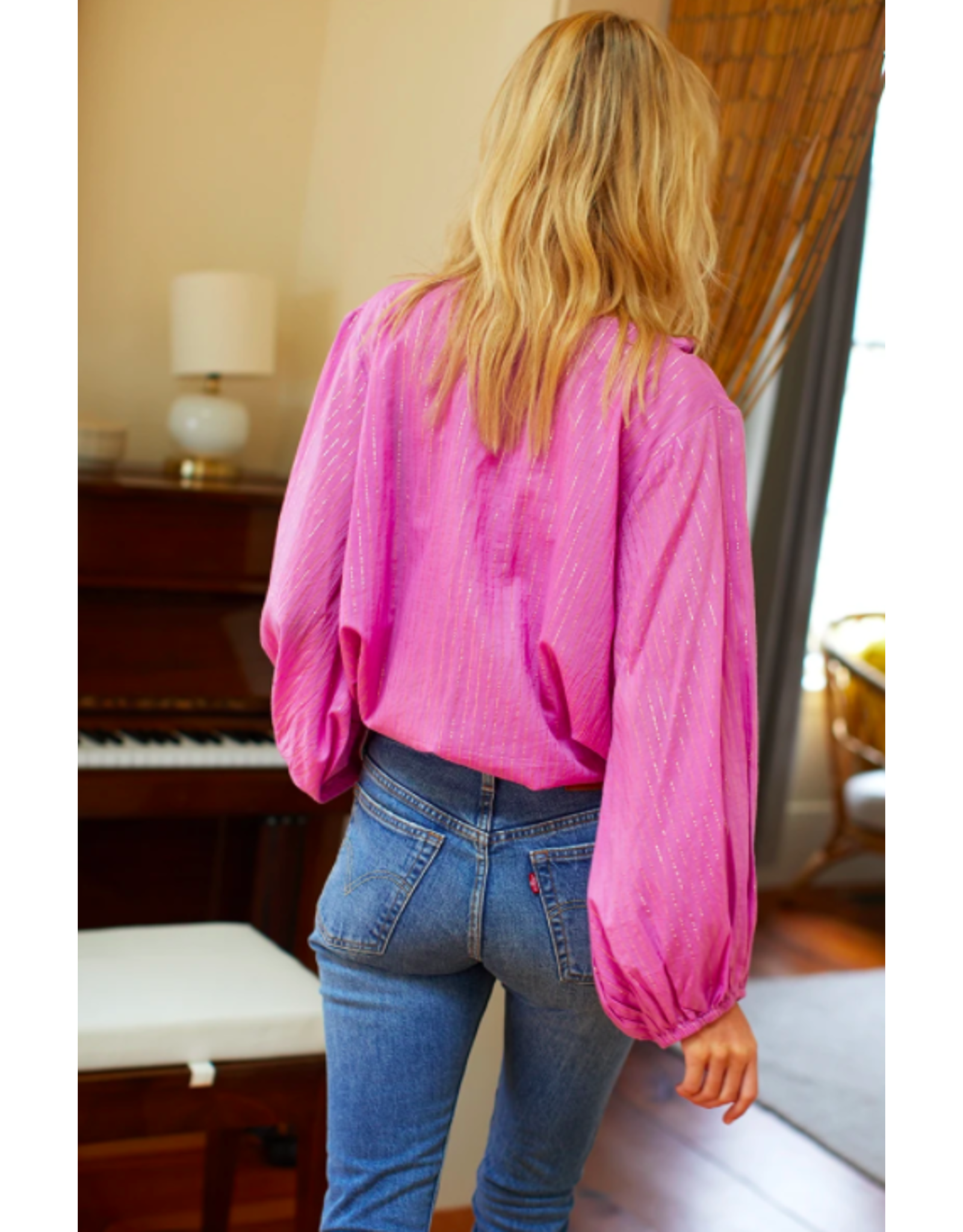 Emerson Fry Bardot Top in Pink Lurex