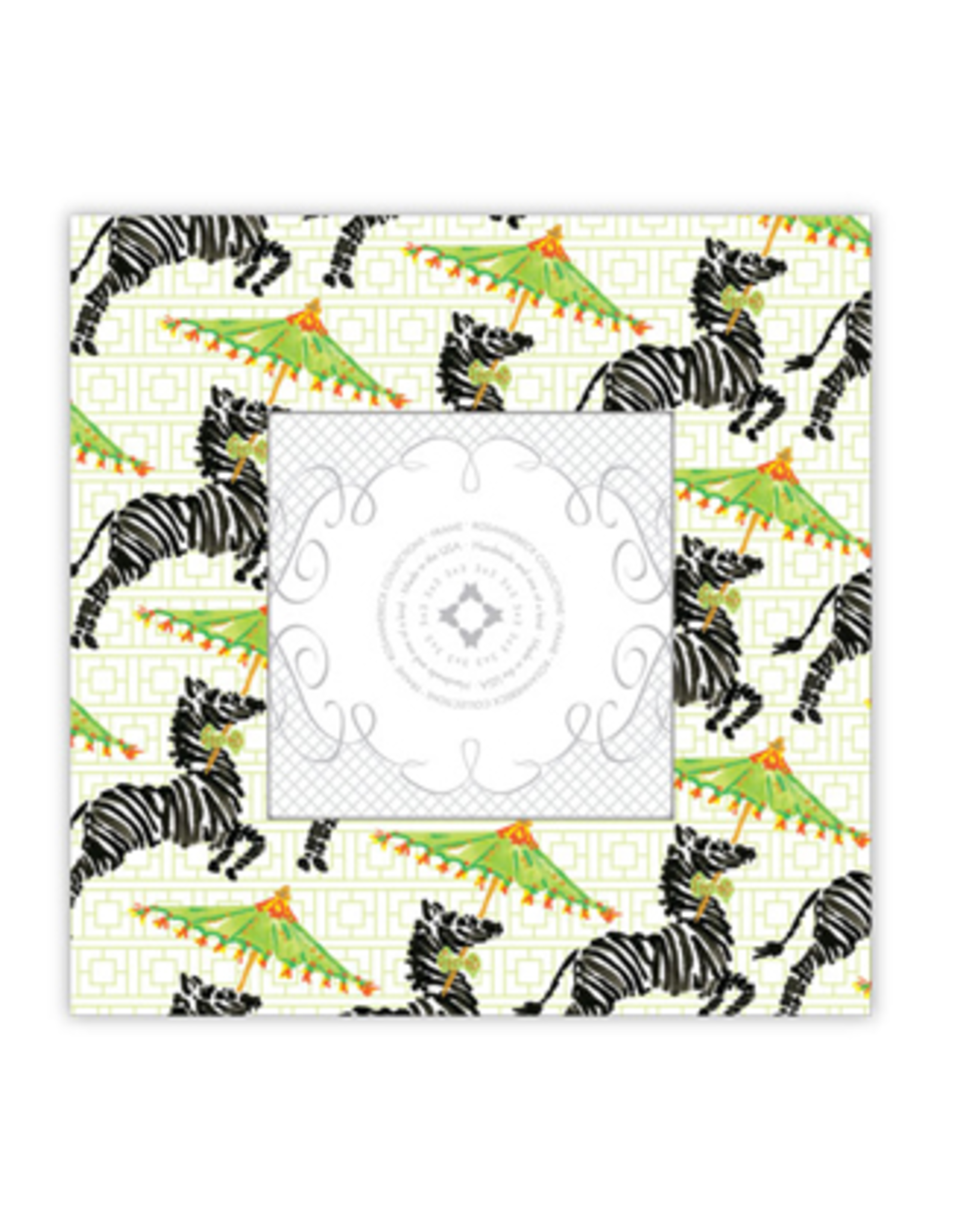 Watercolor Asian Zebra 3x3 Frame