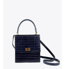Neely & Chloe The Mini Lady Bag in Navy Croc by Neely & Chloe