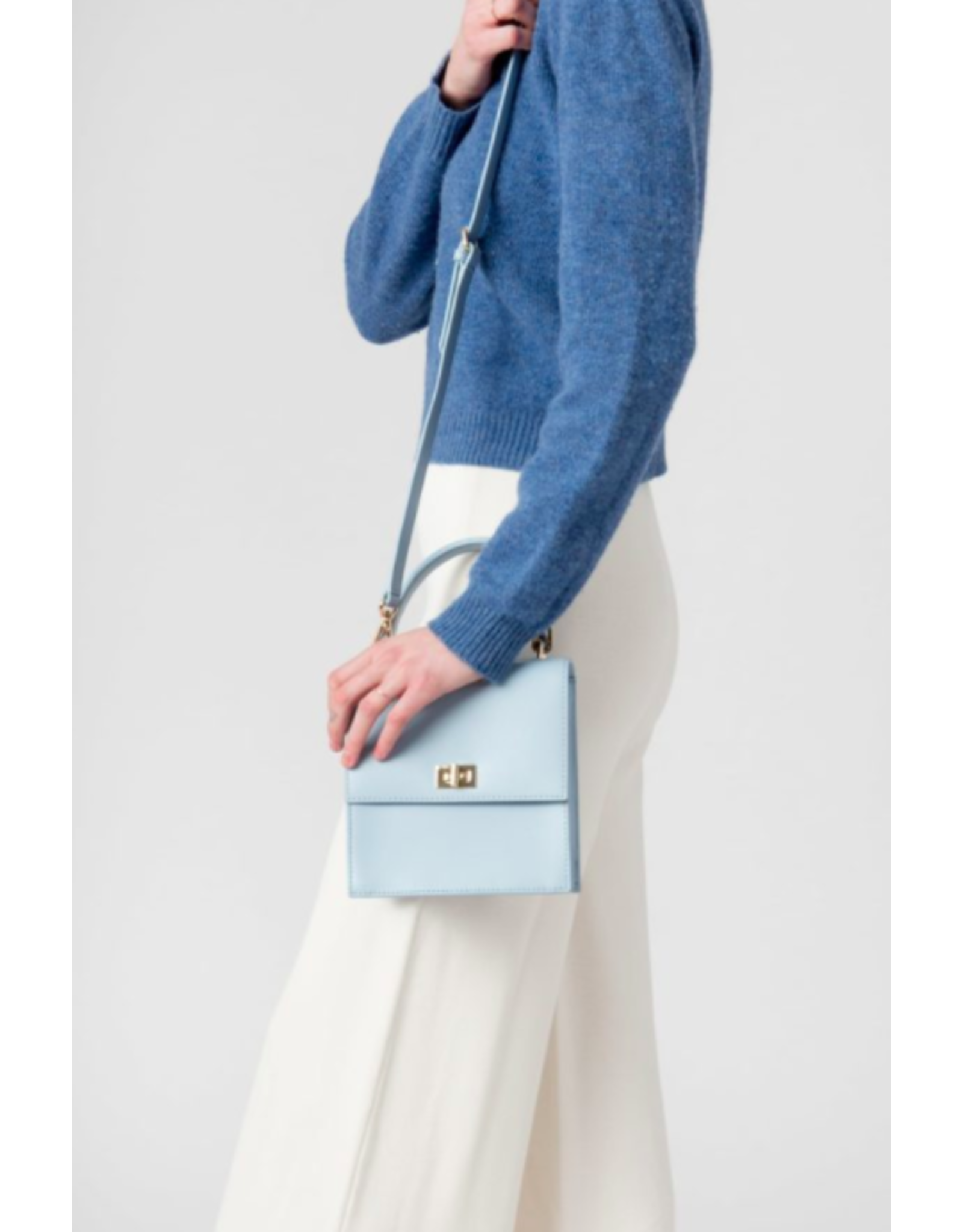 Neely & Chloe The Mini Lady Bag in Steel Blue Saffiano by Neely & Chloe