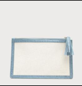 Neely & Chloe Double Zip Shoulder Bag in Natural & Steel Blue by Neely & Chloe