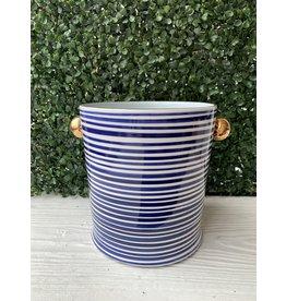 Jill Rosenwald Ice Bucket in Delft Slinky Stripes by Jill Rosenwald
