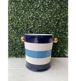 Jill Rosenwald Ice Bucket in Delft and Tidepool Stripes by Jill Rosenwald