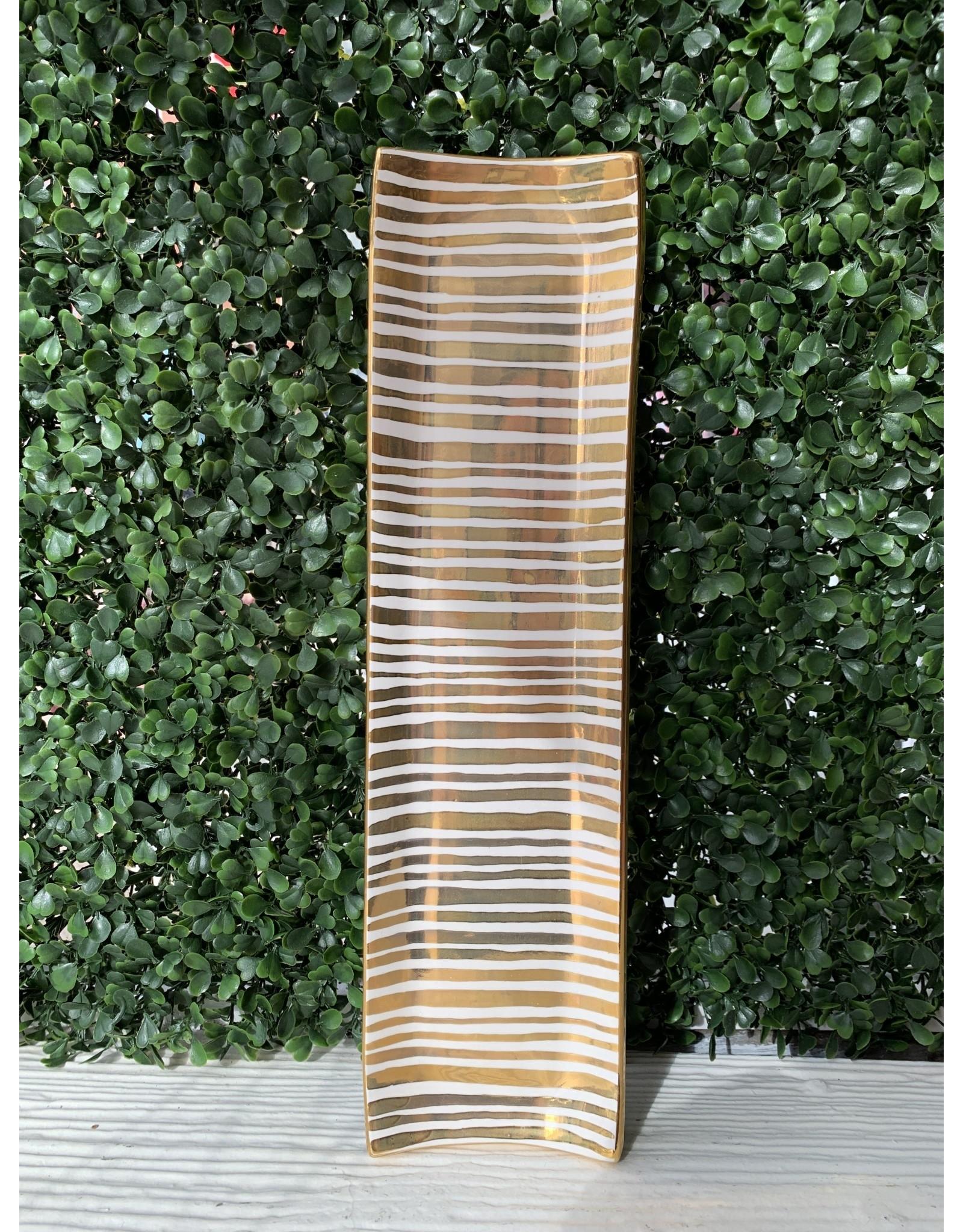 Jill Rosenwald Oyster Tray Gold Stripe by Jill Rosenwald