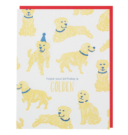 Smudge Ink Golden Retriever Birthday Card