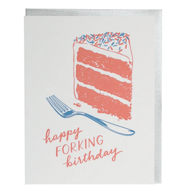 Smudge Ink Fork Birthday Card