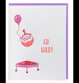 Smudge Ink Hedgehog on a Trampoline Card
