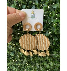 Dangle Disk Circle Natural/White Raffia Earrings
