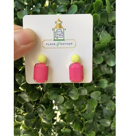 Rectangle Dome Top Earring Pink/Yellow