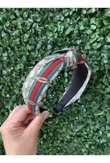 Green and White Stripe Chain Headband