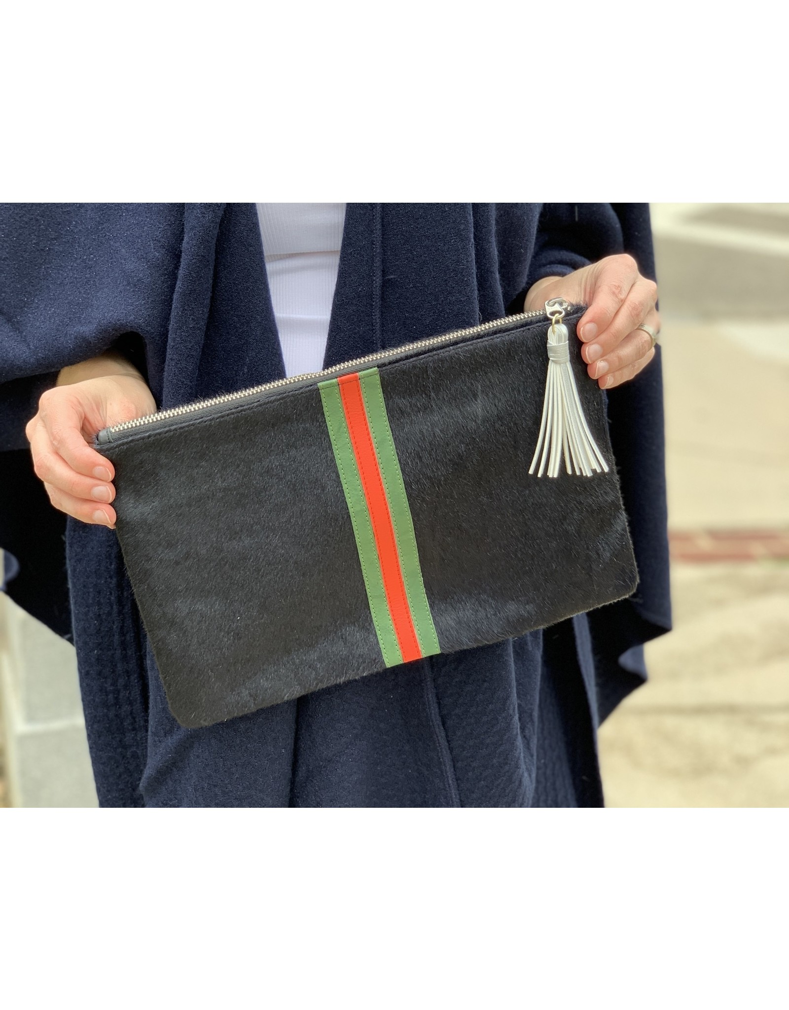 Parker & Hyde Black Stripe Clutch by Parker & Hyde