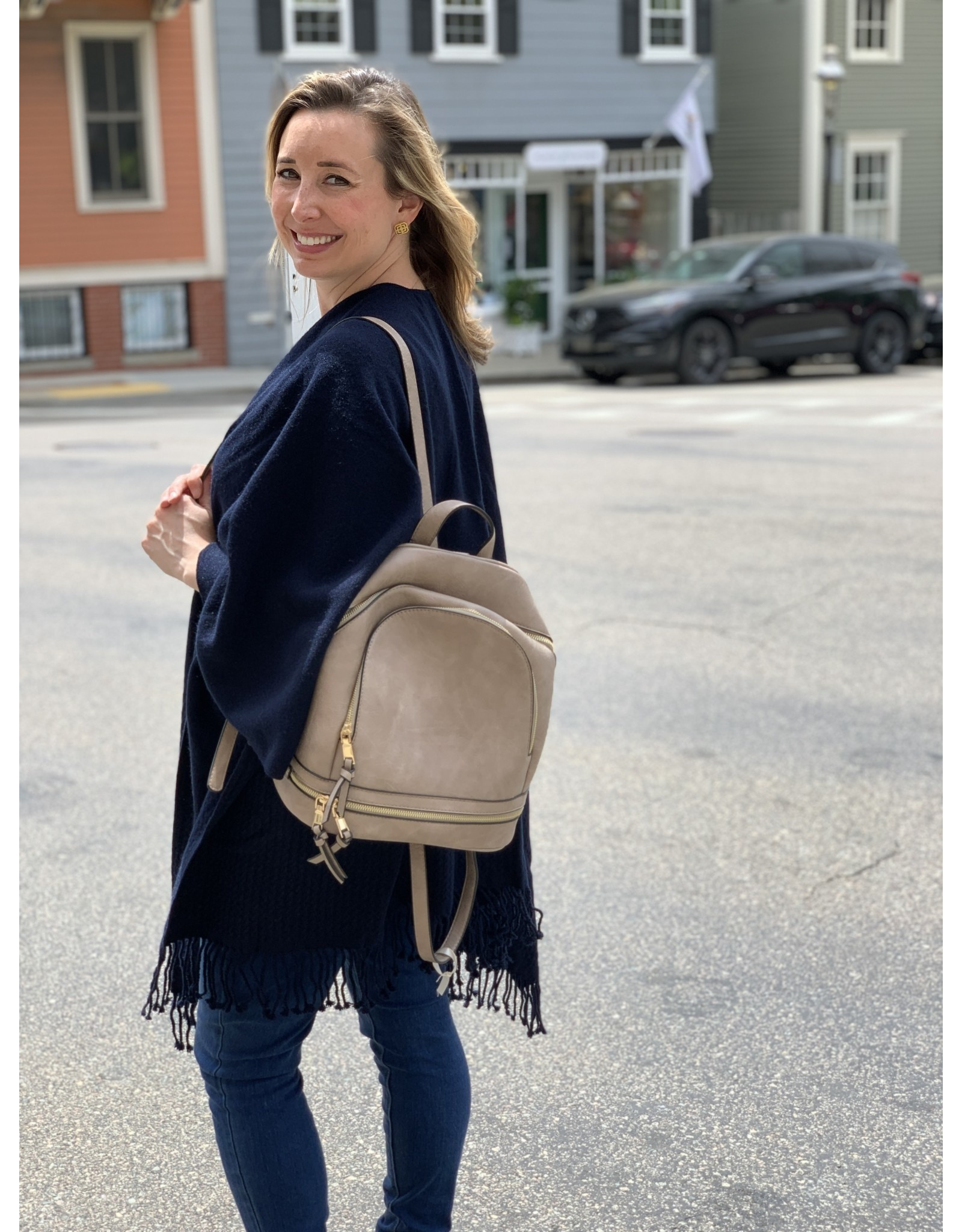 Taupe Zipper Detail Backpack