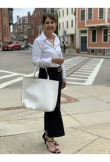 Magnetic Reversible Tassel Tote in White and Tan