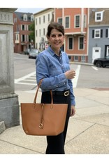 Reversible City Tote in Chestnut and Taupe