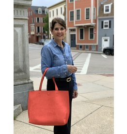 Accessories Shop by Place & Gather Magnetic Reversible Tassel Tote in Deep Salmon and Royal Blue