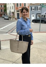Reversible City Tote in Taupe and Royal Blue