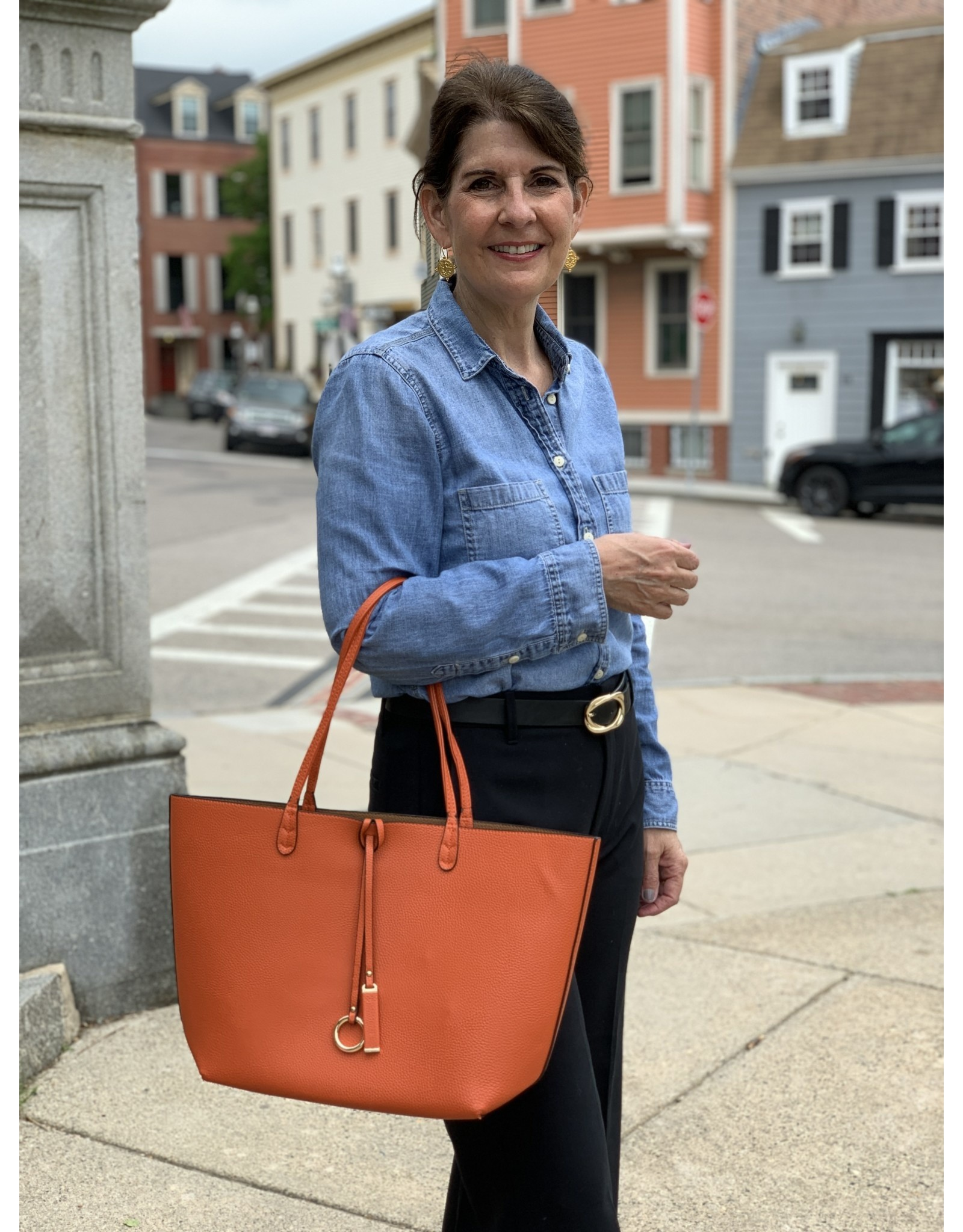 Reversible City Tote in Burnt Orange and Chestnut