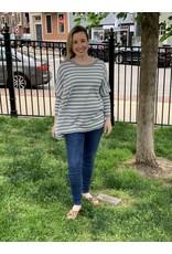Mer Sea Crewneck Mini Pocket Sweater Grey Stripe