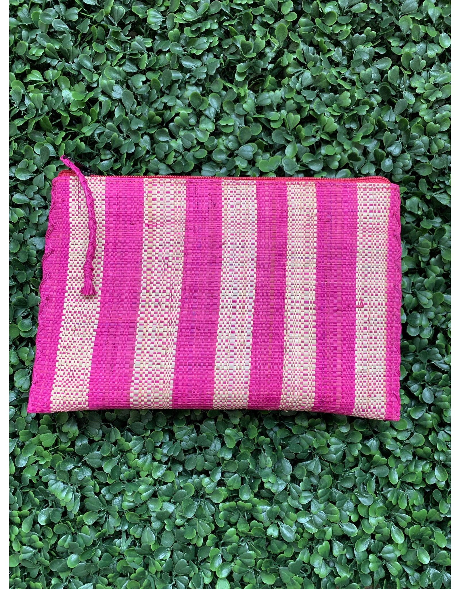 Party Pouch in Hot Pink Stripe
