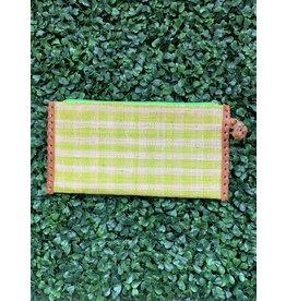 Zip Clutch Braided Handle in Lime Stripe