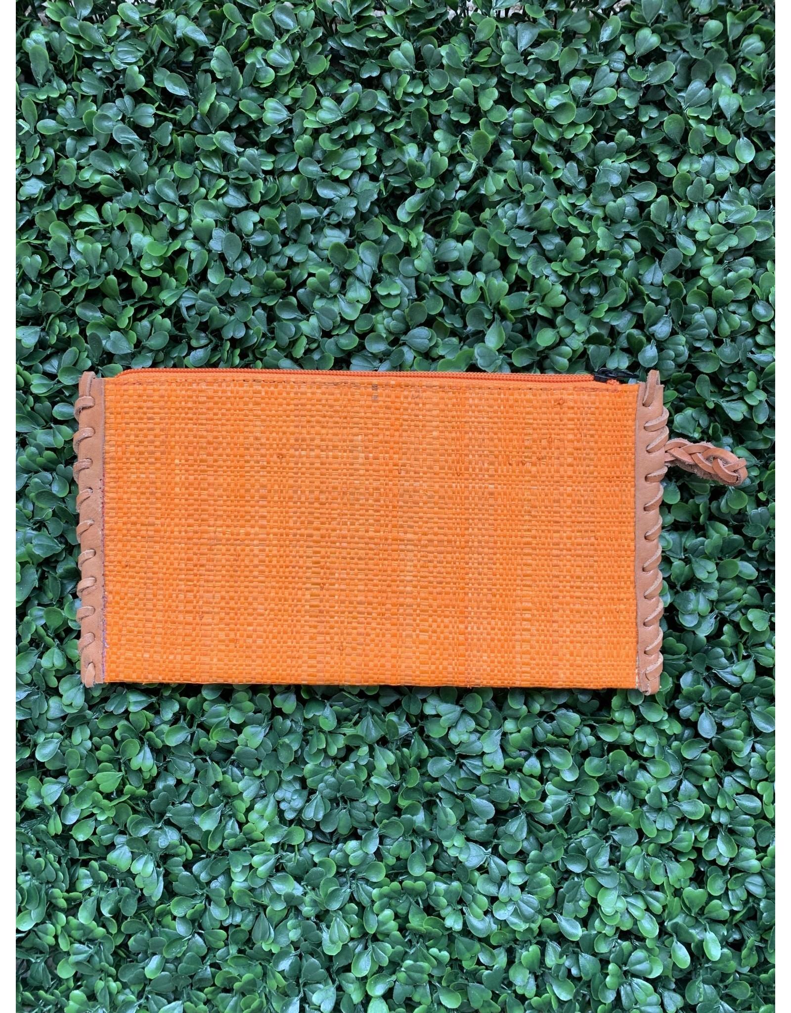 Zip Clutch Braided Handle in Tangerine
