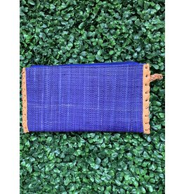 Zip Clutch Braided Handle in Blueberry