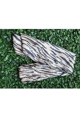 Silk Wired Head Scarf in Blush/Black Tiger Stripes