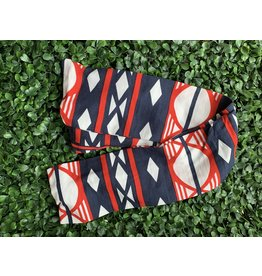 Cotton Wired Head Scarf in Red, White, and Blue Geometric