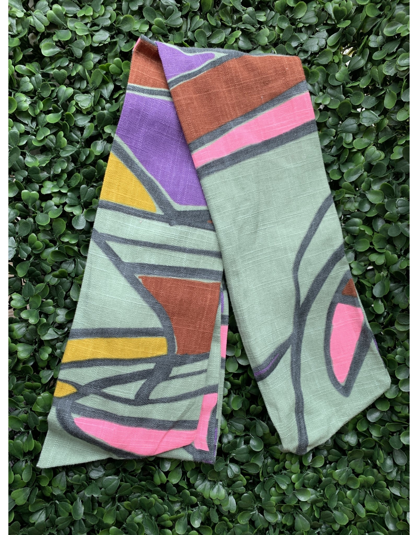 Cotton Wired Head Scarf in Sage, Pink, and Rust Abstract