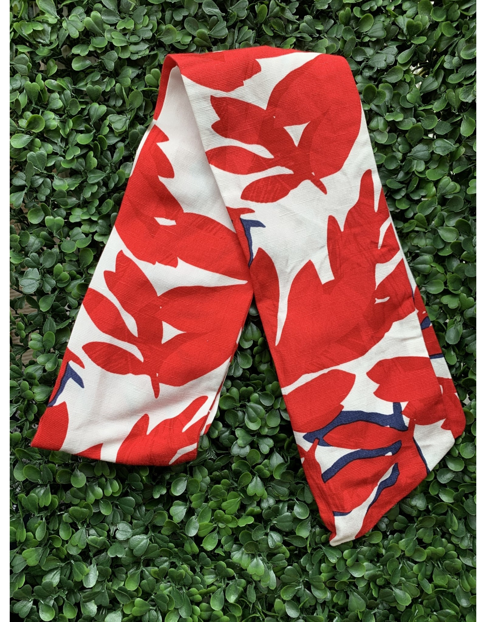 Cotton Wired Head Scarf in Red & Blue Foliage