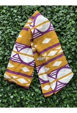 Cotton Wired Head Scarf in Gold & Purple Geometric Print