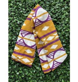 Cotton Wired Head Scarf in Gold & Purple Geometric Print