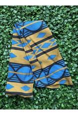 Cotton Wired Head Scarf in Tan & Blue Geometric Print